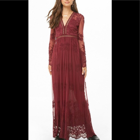 Forever 21 Dresses & Skirts - Forever 21 Lace Embroidered Maxi Dress